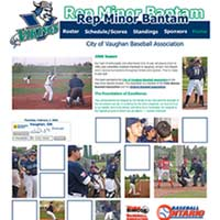 [Screenshot of CVBA 2006 Rep Minor Bantam Baseball Team's Web Site]