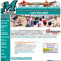 [Screenshot of Markham District Baseball Association's Original Web Site]